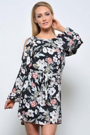Fiona Split Sleeve Dress in Black