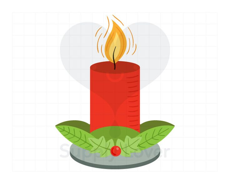 RED CHRISTMAS CANDLE Clip-Art Commercial Use, Christmas Decor, Mistletoe, Green, Pillar Candle, Lit, Flame, Advent, Burning - A0012