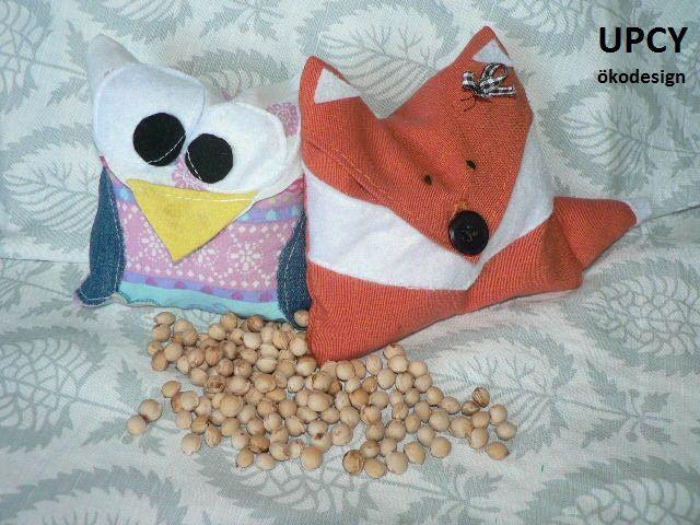Meggymag párna bagoly és róka, útmutató újrahasznosítás -  DIY tutorial cherry stone bag owl or fox upcycled