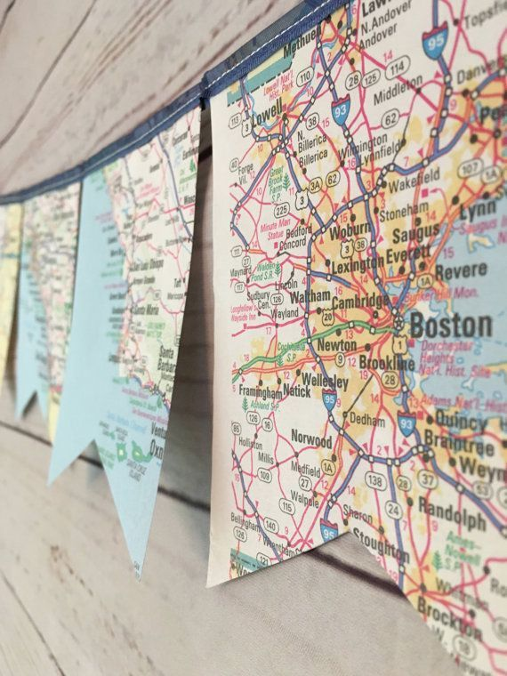 Map Page Banner • Atlas Banner • Travel Themed Party Decor • Travel Map Wall Hanging • Graduation Banner • Atlas Paper Bunting • Map Decor