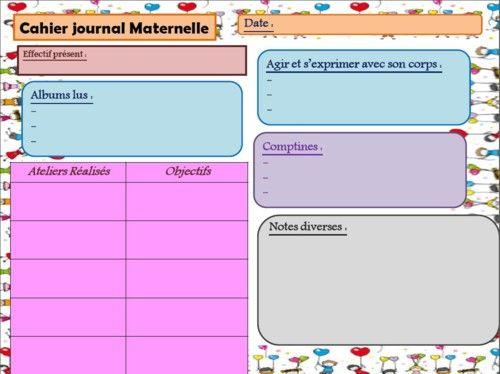 Cahier journal maternelle