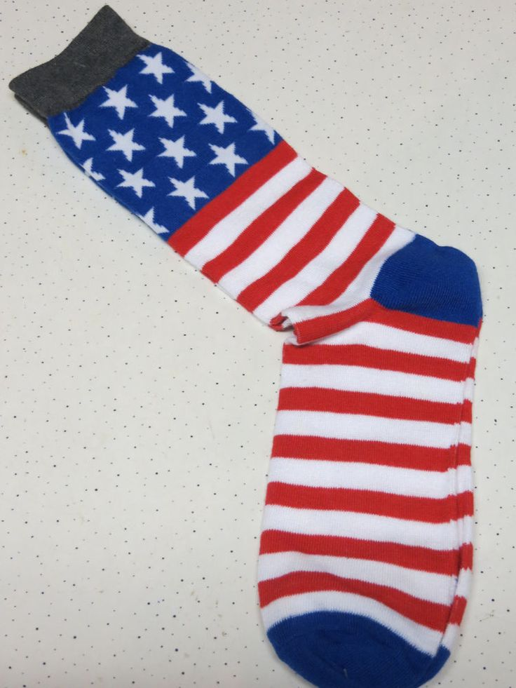Patriotic American Flag Mens Novelty Socks Stars Stripes Shoe Size 6 to 12 New  #Unbranded #Casual