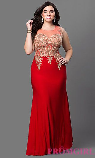 Sleeveless Illusion Bodice Prom Dress at PromGirl.com