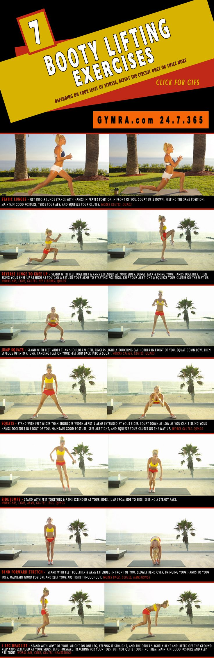 No gear #butt lifting #workout that can be done anywhere, anytime. Perfect for those on the go with little time to hit the gym. Click image for GIFs.