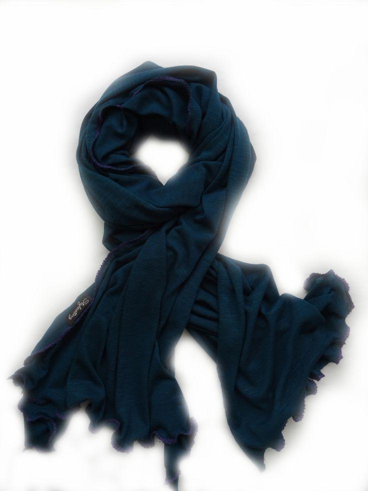 Cobalt Blue with Purple Stitch Scarf from Stylesetterz Handmade Scarves @ www.facebook.com/stylesetterzhandmadescarves