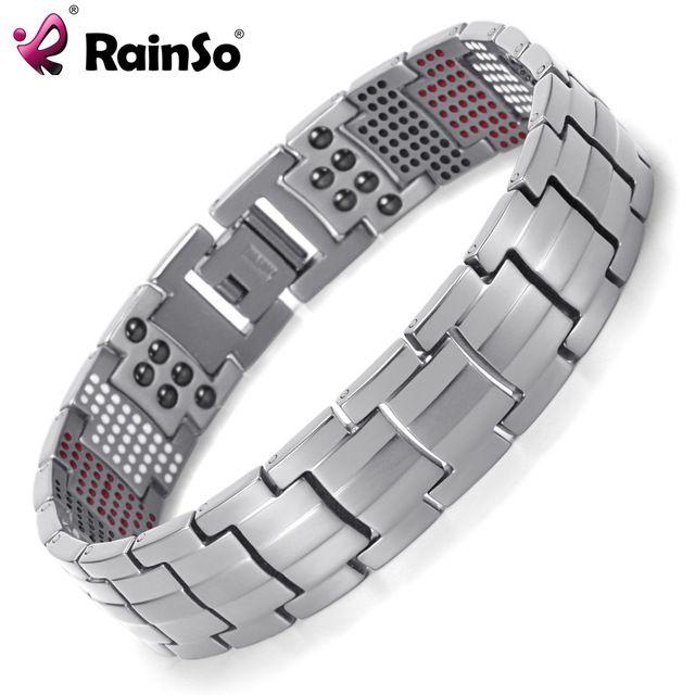 For Sale $13.30, Buy Rainso Men Jewelry Healing magnetic Bangle Balance Health Bracelet Silver Titanium Bracelets Special Design for Male