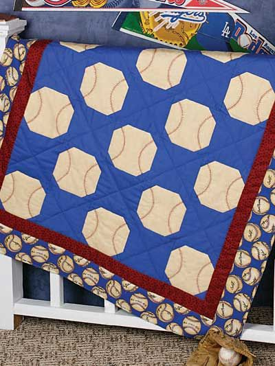 Play Ball Quilt Pattern - Free Baby & Kids Quilt Pattern...change ball color to orange & add basketball themed border