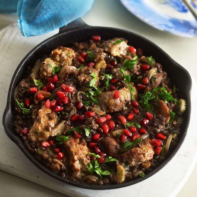 Winter lentil, chestnut and sausage hotpot prima.co.uk