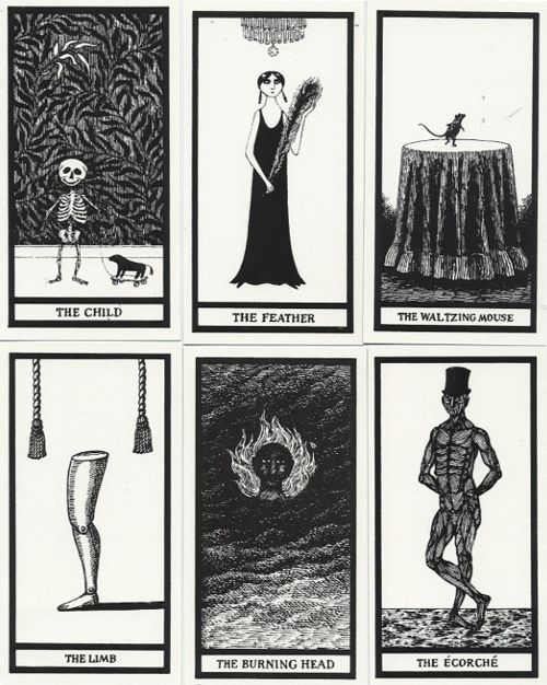 "Published by The Gotham Book Mart in 1995, The Fantod Pack by Edward Gorey is a boxed card set of 20 fortune telling cards. The illustrated grey box includes cards and a booklet which guides the ""reader"" to tell their (mis)fortune."