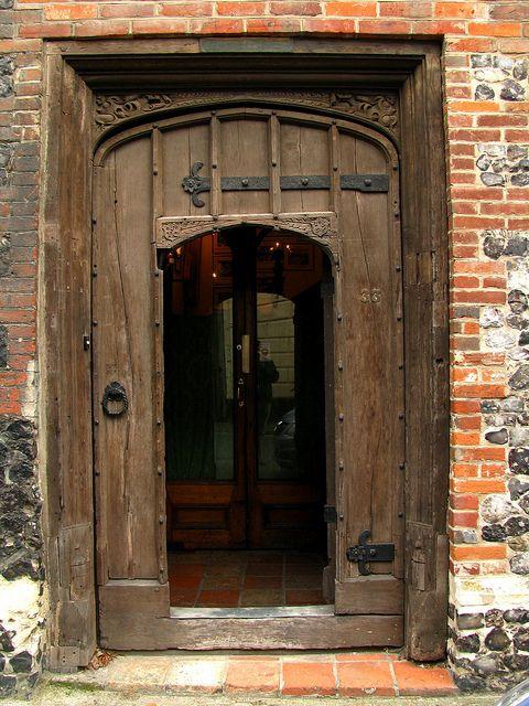 Old medieval door, Colegate street, Norwich, England by j.labrado, via Flickr