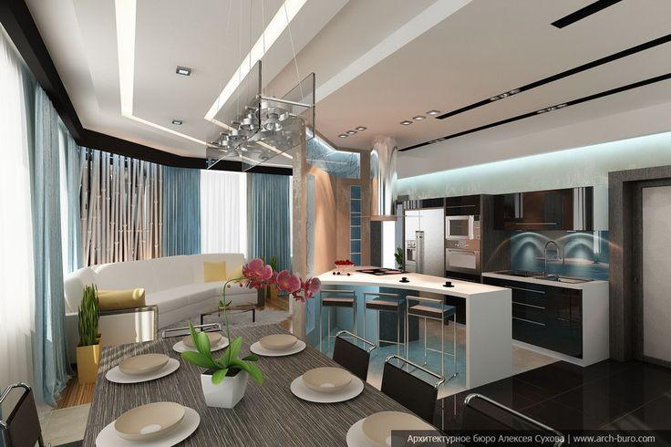 Дизайн интерьера гостиной с кухней-столовой в Санкт Петербурге | INTERIOR дизайн интерьера