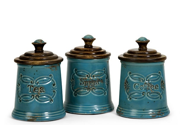 These are so darling!!!Decor, Ideas, Mango Wood, Canisters Sets, Provincial Canisters, Piece Provincial, Colors Blue, Products, Kitchens Canisters