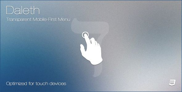 Daleth - Transparent Mobile-First Menu . Daleth is a pure CSS responsive navigation, optimized for mobile & touch devices. It has a transparent background, which makes it perfect for websites with photos as backgrounds. On mobile devices, the fluid horizontal menu turns into a vertical menu which can be toggled with a click/single tap.