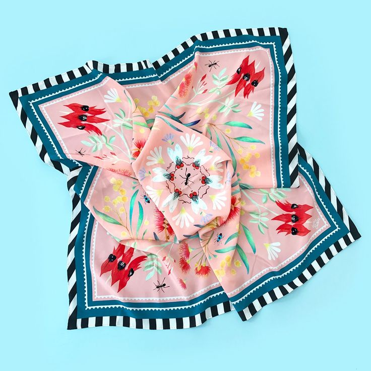 NEW! from collection 'LOLA'S GARDEN'Large silk square scarf in 'FAMILY CIRCLE' print.This fun print features Australian native flora + fauna arranged in harmonious symmetry, finished wi...
