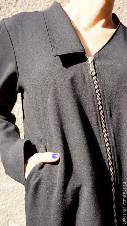 Купить Жакет Zipper Trench - черный, пиджак, пиджак женский, жакет, жакет шерстяной
