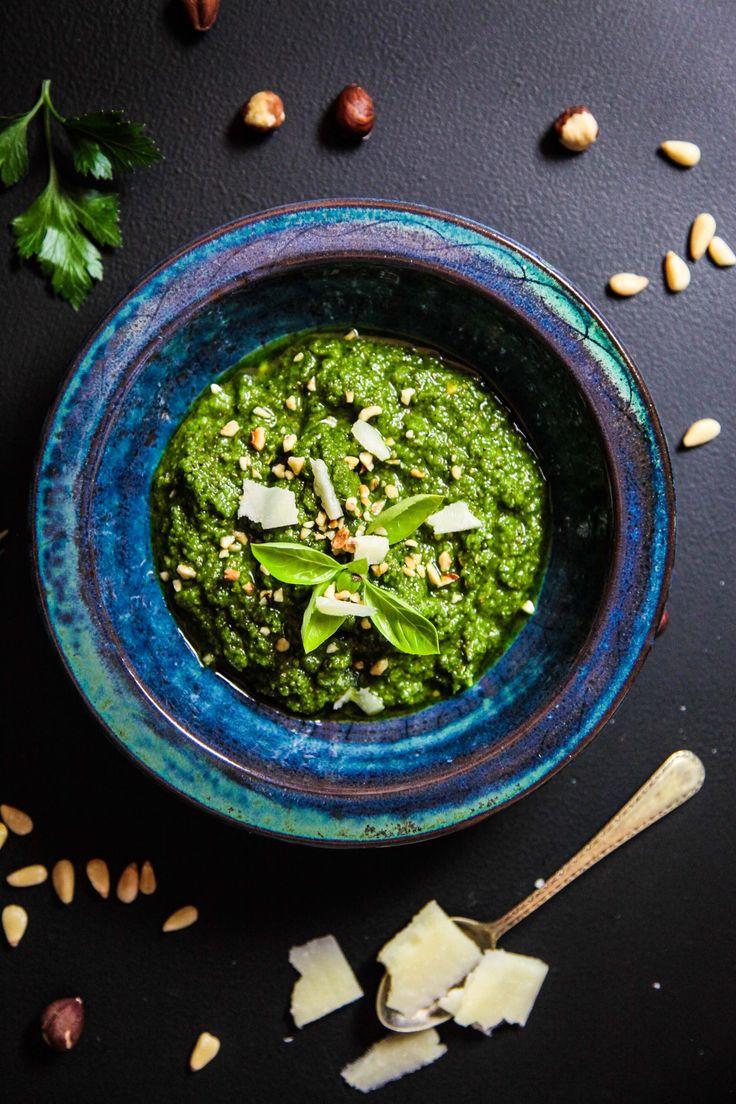 Hazelnut Green Herb Pesto | Berries and Spice