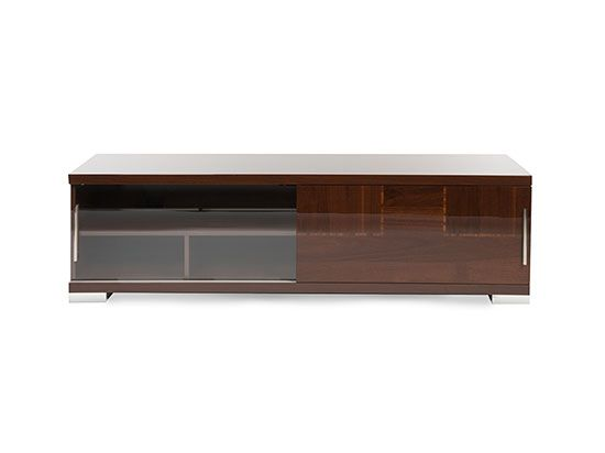 Scandinavian Designs - Made in Italy, finished in a high gloss, walnut canaletto veneers with zebra wood inlays. Features a sliding two-door base, and ample storage for all types of media storage. This is exceptional Italian design and craftsmanship!
