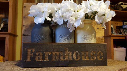 Farmhouse Decor Mason Jar Centerpiece Rustic by TheSilverPluM1