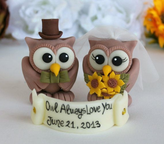 I don't think they could be anymore perfect!!! Custom wedding owl cake topper sunflower wedding by PerlillaPets, $65.00