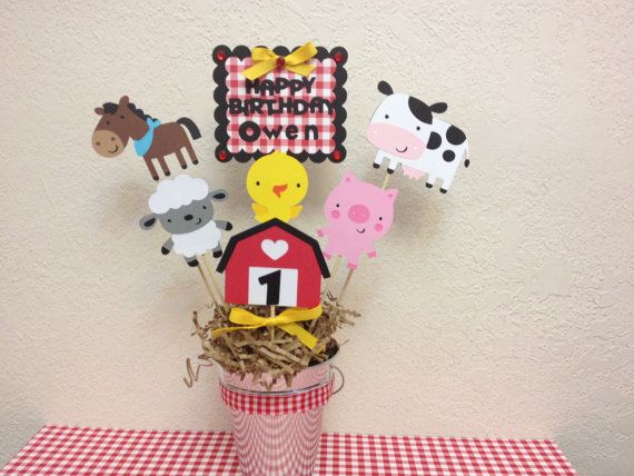 Farm Barnyard Birthday Centerpiece Baby Shower by TheGirlNXTdoor