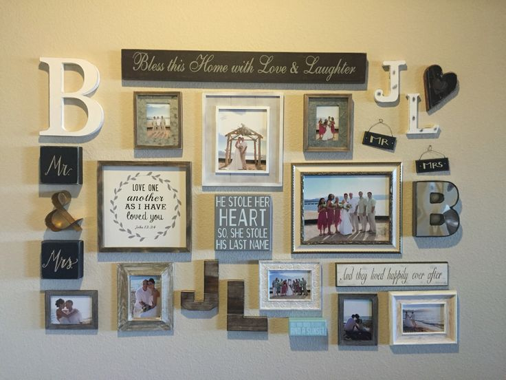 Wedding Picture Collage, entry way, alphabet decor, romantic rustic design, beach wedding
