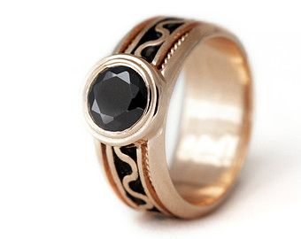 14k rose gold and Black stone engagement ring, promise ring, black  pink engagement ring, love ring, rose gold ring, Birthstone Ring
