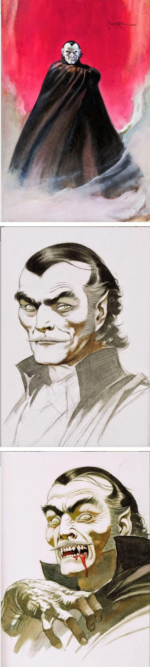 FRANK FRAZETTA - Three Dracula Sketches - prints by capnscomics.blogspot.com