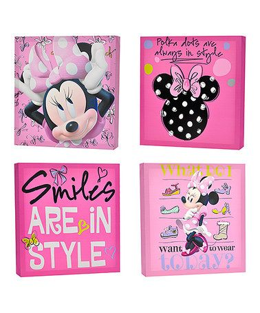 Another great find on #zulily! Minnie Mouse Canvas Wall Art Set by Minnie's Bow-Tique #zulilyfinds