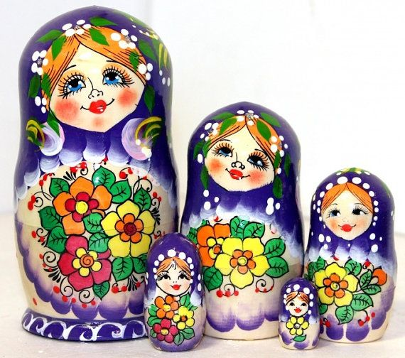 Traditional Russian wood toy hand painted curved wood, nested doll and stacking doll/Original dolls Flawer pattern violet 5 pcs
