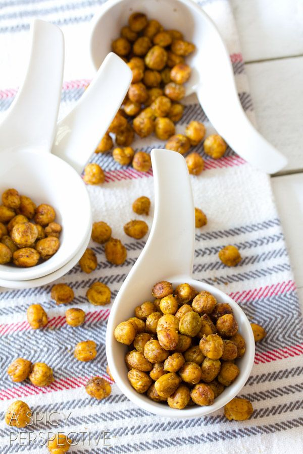 Roasted Chickpeas. I LOVE this snack! So simple and easy to make. I usually make a batch on Sunday to pack in my lunches throughout the week.