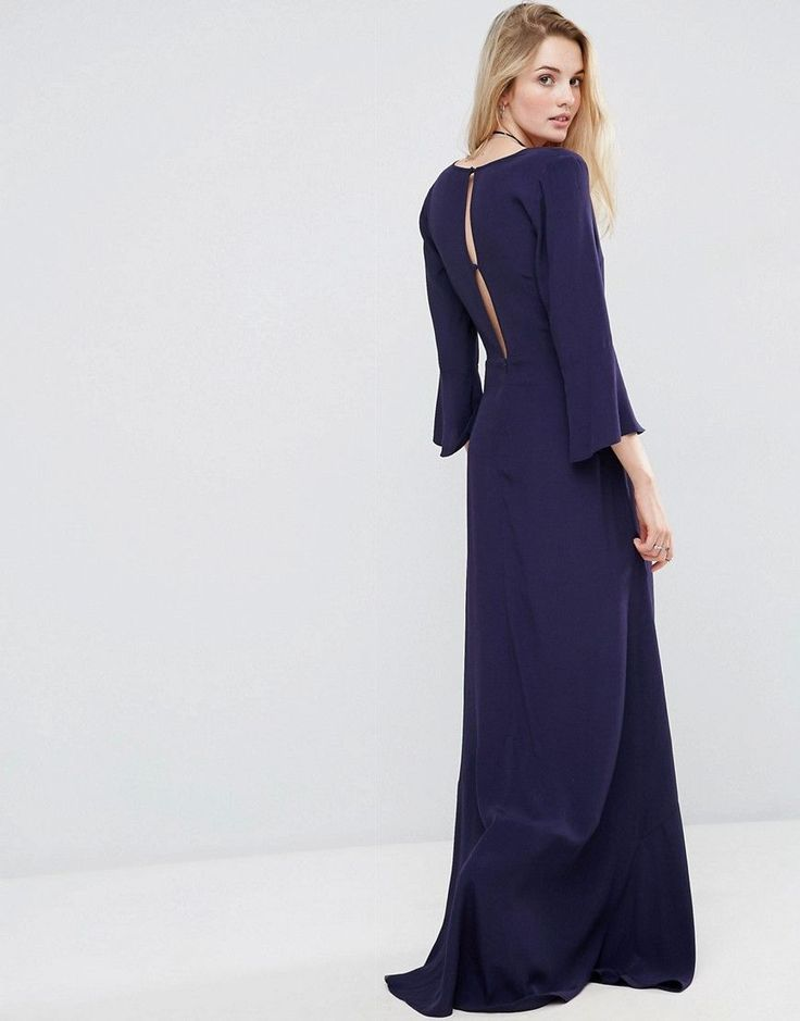 ASOS TALL Maxi Dress with Button Front - Navy