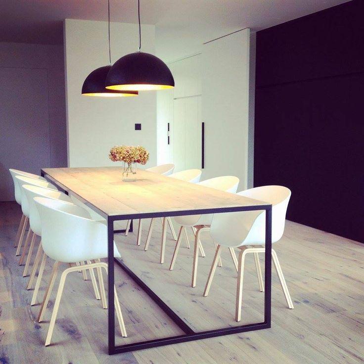 'Hedensted' industriële tafel steigerhout ingelegd blad/stalen frame
