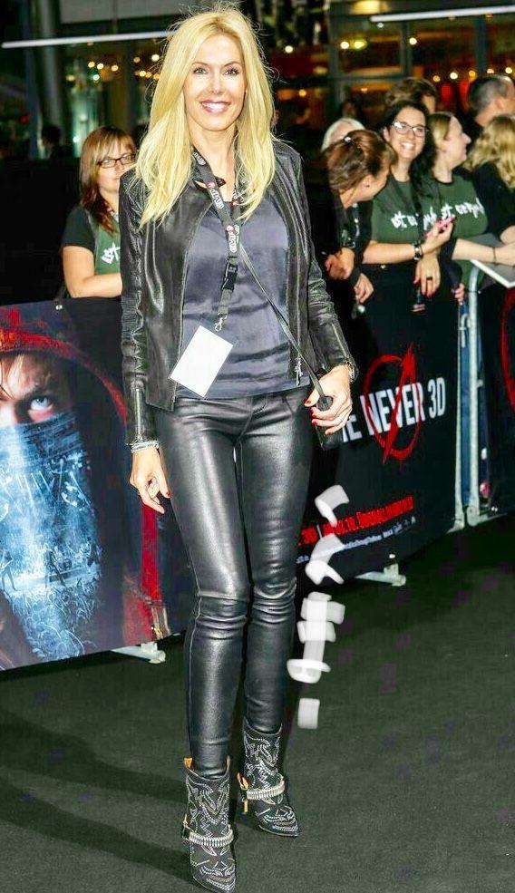 Mature leather pants heels