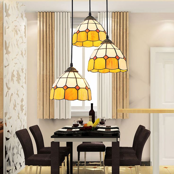 Средиземноморский континентальный железа люстра спальня 3 головок свет ресторан тиффани витражи арт висит лампа купить на AliExpress