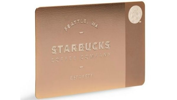 $450 Starbucks gift card, in collaboration w/gilt.com. When in possession of this card, you receive all the perks included in a Starbucks Gold Level membership which will give you free refills, a free birthday treat, a 15% off coupon for Starbucks online store and a free treat whenever you reach 12 stars.