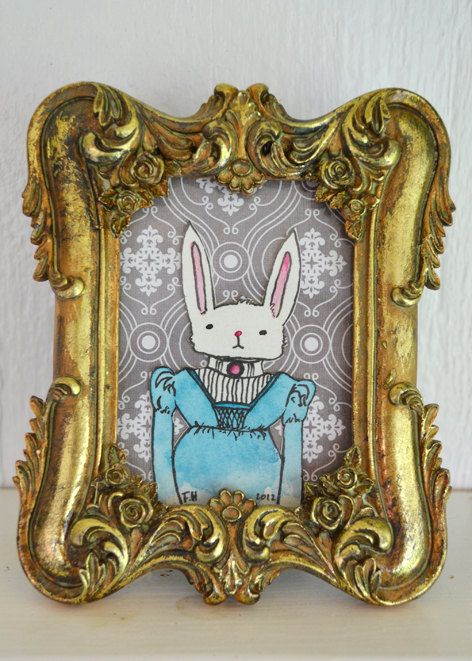 Victorian long-eared bunny in blue. Now living in the Etsy store.