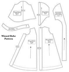 ClaireSanders.net: Wizard Robe, enlarge pattern yourself to fit and loose instructions