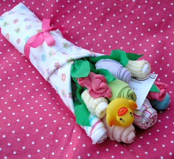 Made to Order: Baby Girl Clothing Flower Bouquet, Baby Shower Gift, Unique Baby Gift made of Onesies, Washcloths, Socks, Blanket
