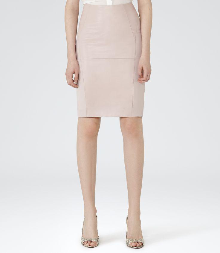 Womens Pastel Pink Leather Panel Skirt - Reiss Harlem