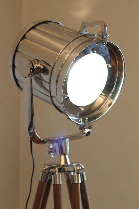 Designer Chrome vintage industrial Tripod Floor Lamp Nautical SPOT LIGHT Floor LAMP