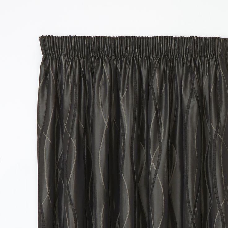 Hilton Ebony - Readymade Lined Pencil Pleat Curtain - Curtain Studio buy curtains online
