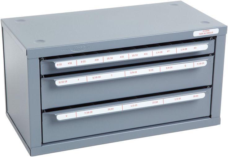 "Huot Three-Drawer Tap and Drill Bit Dispenser Cabinet for Tap Sizes #6-32 to 1/2""-20 and Drill Bit Sizes #36 to #29/64"