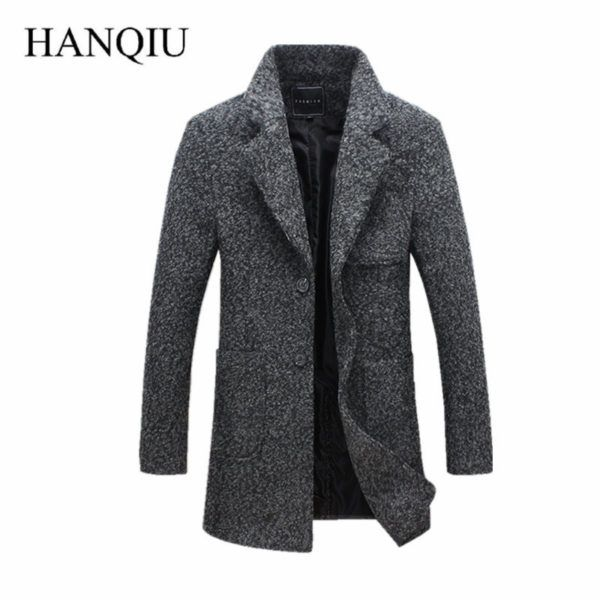17 New Fashion Long Trench Coat Men Winter Mens Overcoat 40% Wool Thick Trench Coat Male Jacket - BESTINMYBOX