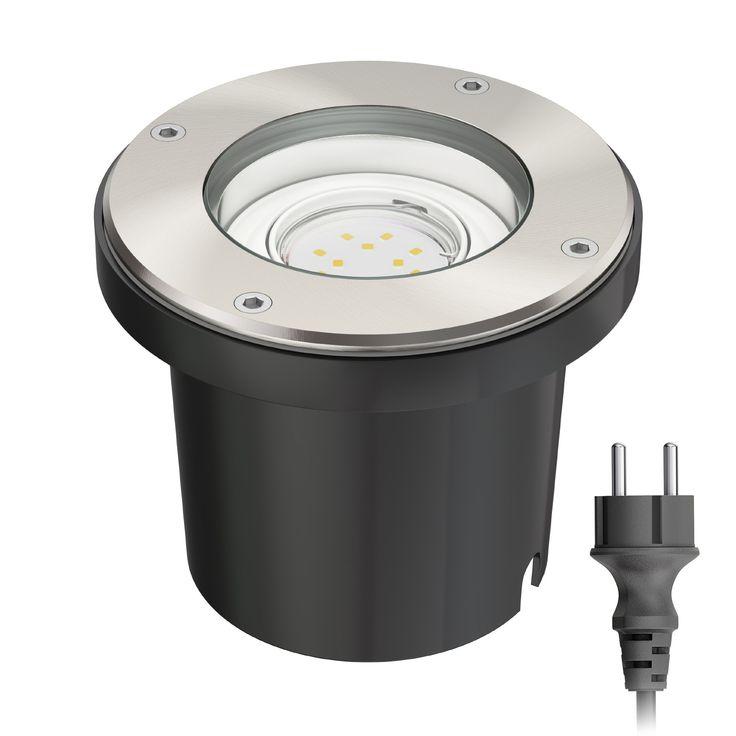 Bodeneinbaustrahler BOS für außen schwenkbar Edelstahl rund IP67 150mm Ø inkl. 1,9W LED Lampe 110lm warmweiß (Set wählbar)