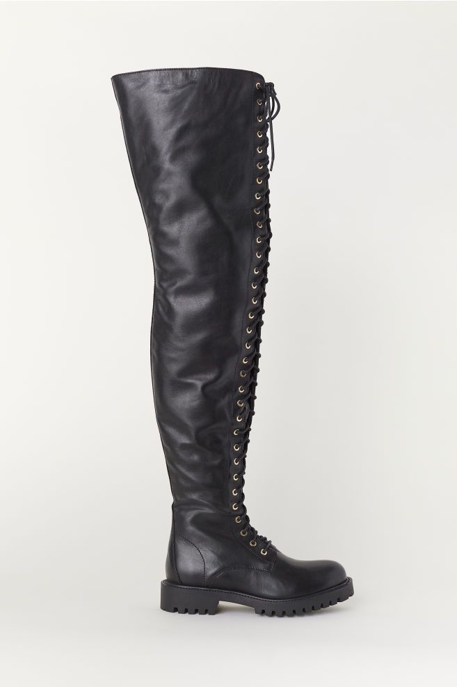 e312e8d75ac75 Moschino x H&M Women Black Leather Thigh High Boots Shoes 36 #fashion  #clothing #shoes #accessories #womensshoes #boots (ebay link)