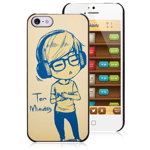 Cute boy listening to music cartoon iPhone 5 Case #cellz #music #case #boy #iphone #iphone5case