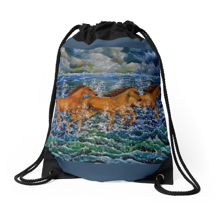 Drawstring Bag,  brown,beautiful,fancy,unique,trendy,artistic,awesome,fahionable,unusual,accessories,for sale,design,items,products,gifts,presents,ideas,horses,equine,wild,animals,sea,waves,redbubble