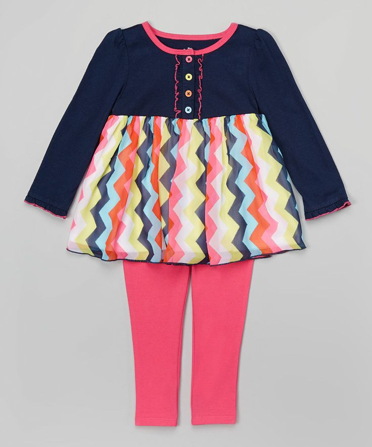 Look at this Kids Headquarters Navy & Pink Tunic & Leggings - Infant & Toddler on #zulily today!
