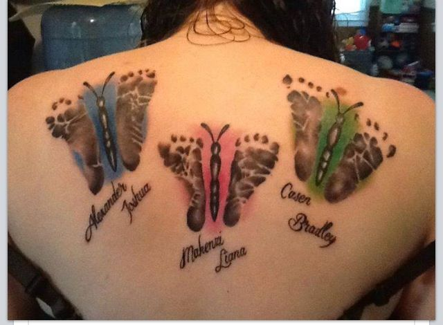 Baby Feet Butterflies Tattoo with Names ~~ I like this one for the shading behind. It's unique to each child. Love