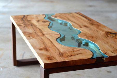 Стол с фигурным стеклом имитация речки, дерево, дерево в интерьере, массив, изделия из дерева, изделия из массива, Бигвуд